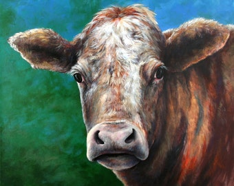 24 in. x 24 in. acrylic on canvas - Missie the Cow