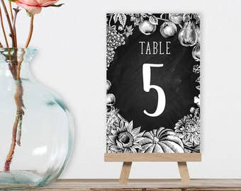 Wedding Table Numbers DIY Printable PDF / Rustic Fall Chalkboard, Autumn Harvest, Rustic Pumpkin, Fall Wedding / 1 to 40 ▷ Instant Download