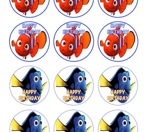 Finding Dory Finding Nemo cupcake toppers Stickers LABELS party favor Printable Digital FIle