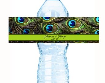 """30 Peacock Feathers Wedding Water Bottle Labels - Need a different amount ? See the """"Pricing & Quantity"""" tab to view all pricing"""