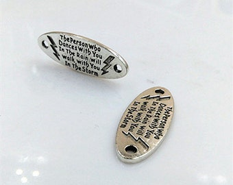 """10PCS, Antique Silver """"The Person Dance with you in The Rain"""" Connector --- Tibetan Silver Tone --- 33mm*13mm, CM28-1403"""