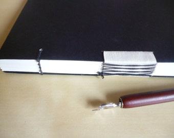 Hand bound A5 notebook - sketchbook - journal, black, Coptic & French stitch