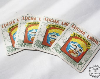"Lucha Libre Coasters ""Dinámico"" (Dynamic) - Set of 4 - Free Shipping Within the USA!!"
