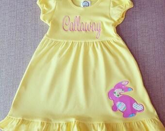Happy Easter! Monogrammed Easter Dress, Monogrammed Spring Dress, Personalized Easter Dress, Easter Bunny