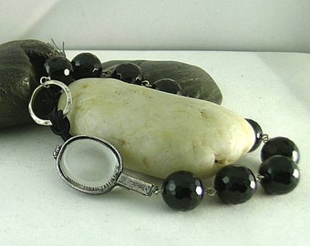 Black Onyx Chaplet Paternoster with an Empty Relic Pendant