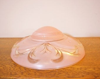Art Deco Frosted Glass Ceiling Light Shade - Pink - Ribbed - Raised Detail - Replacement Shade for 3 Chain Ceiling Fixture - Cottage Chic