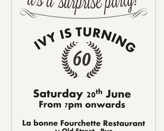 Printed Personalised 60th Birthday Party Invitations x10