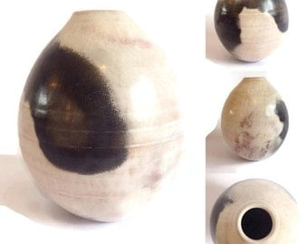 Smoke Fired Ceramic Vase / Handmade Pottery