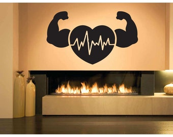 Wall Sticker Room Decal healthy heartbeat arms muscles life strong decor bo3167