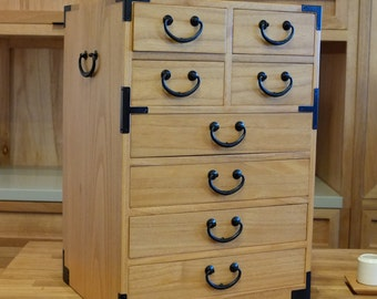 Japanese style kiri wood artisan's chest. (KB23)