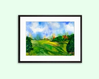 Landscape Download Printable Poster Wall Art Watercolor Field and Sky Breath of nature Instant image Download Digital in 2 size