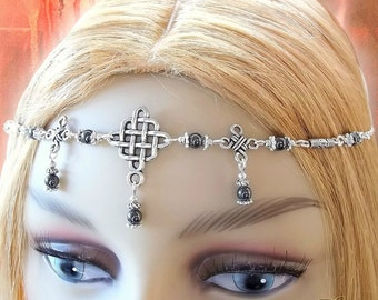 Hematite Celtic Circlet, Medieval Headdress, Pagan Circlet, Druid, Renaissance, Headchain, Headpiece, Reenactment, Cosplay, Larp, Ceremony