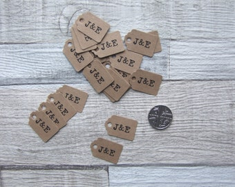 50pcs Recycled Brown Kraft, Personalised Mini Luggage Tags, Wedding Favour Tags, Party Tags - Old Typewriter Font