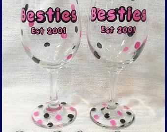 Besties Hand Painted Wine Glass Set