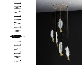 """6"""" Gold Pinky Peach White and Gold Dreamcatcher Mobile"""