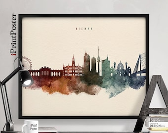 Vienna art print, Poster, Wall Art, Watercolour, Travel poster, Wien, Austria, wall art, home decor, wall decor, fine art print iPrintPoster