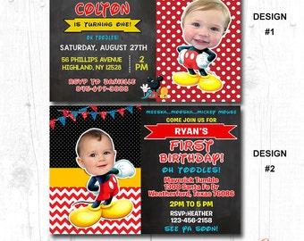 Free Shipping - MICKEY MOUSE INVITATION, Mickey Mouse Birthday, Mickey Mouse 2nd birthday Invitation, Mickey Mouse 3rd Birthday Invitation