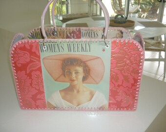 Retro style bag with blanket stitch edge and vintage images from the Australian Womens Weekly
