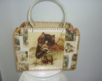 Retro style bag with vintage images of cute cats and kittens