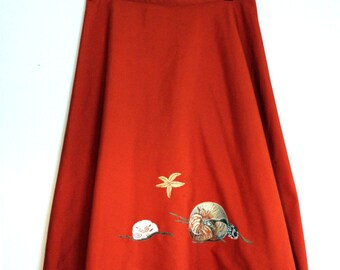 Set Sail: Sea Snail + Starfish 1970s Fox Red Retro Wrap Around Over the Knee Skirt