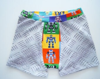 Checkerplate and robot kids custom boxer brief (made to order)