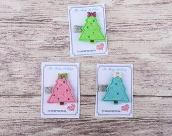 Christmas tree hair clips, Christmas tree  Feltie Hair Clips,The Bitty Bulldog, Baby Hair Clip, Girls Hair Clip, Clippie