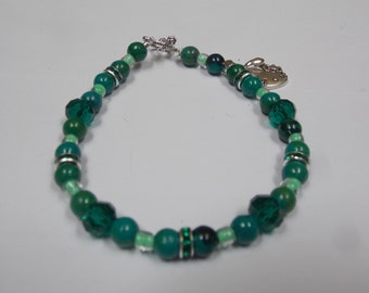 Hand made,beaded bracelet w/ Malachite