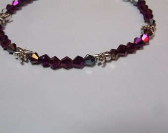 Hand made,one of a kind Beaded bracelet w/ Silver dragonfly
