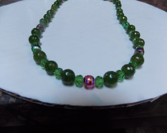 Beaded hand made,one of a kind necklace w/ Green Agate