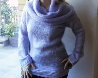 Long sweater with hood/Knitted mauve sweater/Fashion great neck sweater/ Hooded sweater/Fashion long sweater/Elegant Mohair sweater