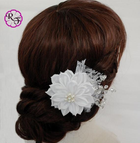 Bridal hair flower white flower wedding hair clip kanzashi flower il570xn mightylinksfo Image collections