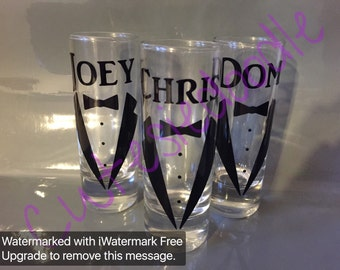 wedding glasses, personalized shot glasses, bridesmaid shotglasses, wedding shot glasses, groomsmen shot glasses, tuxedo shot glass