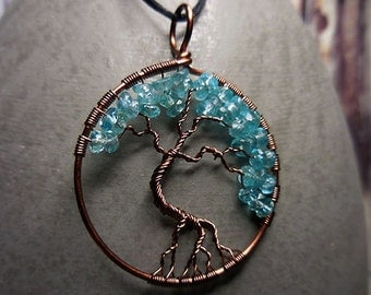 Tree of Life pendant, Apatite Tree of Life, Turquoise Jewelry, Antiqued Copper Pendant, Wire Wrap Jewelry, Spiritual Jewelry, Tree of Life