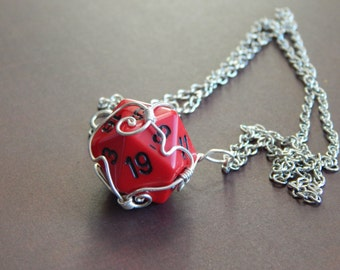 Dungeons and Dragons Pathfinder d20 red and black pendant necklace RPG geek jewelry