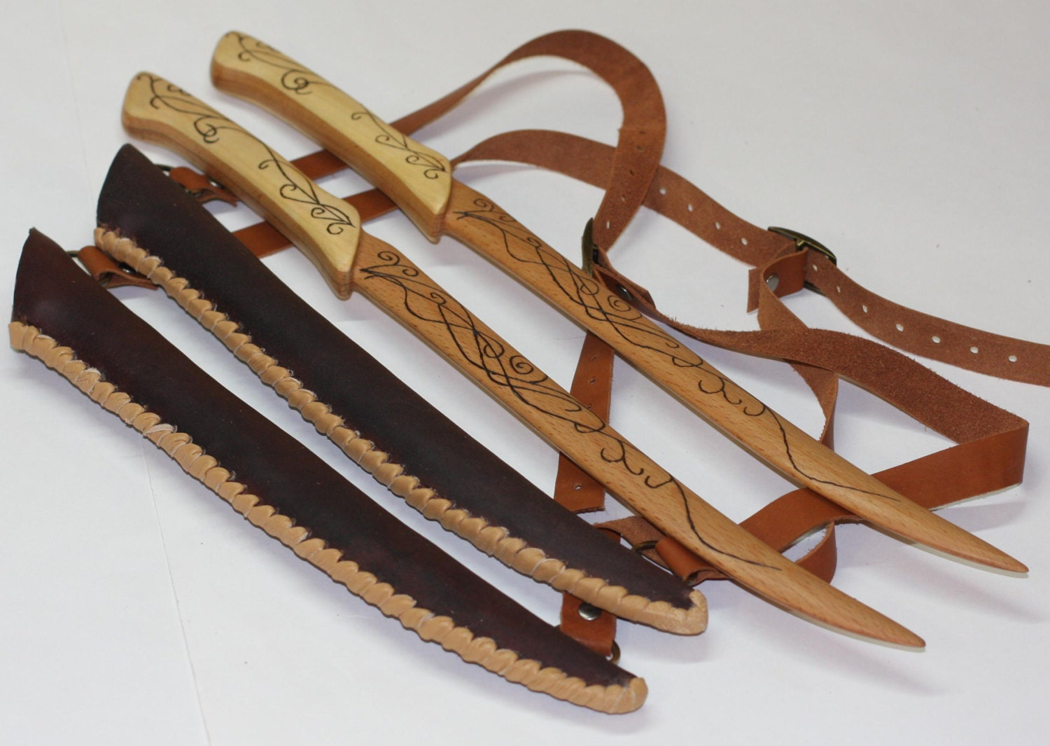 Toys For Knives : Toy wooden legolas knives with leather sheath