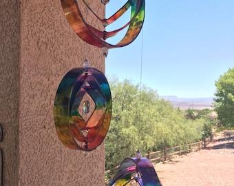 Wine bottle sun catcher wind chime