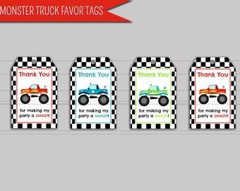 "Monster Truck Favor Tag Printable Digital Download: ""MONSTER TRUCK"" favor tags with racing stripe, red, green, blue printable thank you tags"