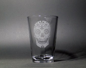 Sugar Skull 8 oz Juice Glass - Dia de los Muertos Glass - Elegant Sugar Skull - Candy Skull Julice Glass - Halloween Skull Julice Glass
