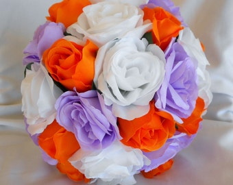 Orange , lavernder and white bridal bouquet set 4 pc