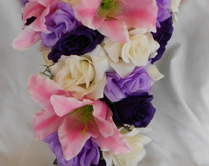 Stargazer and roses cascade brides bouquet royal purple lavender and ivory 2 Pc