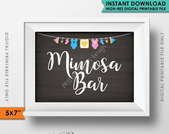 """Mimosa Bar Sign, Make a Mimosa Sign, Brunch Baby Shower Decor, Shower Sign, Chalkboard Style 5x7"""" Instant Download Digital Printable File"""