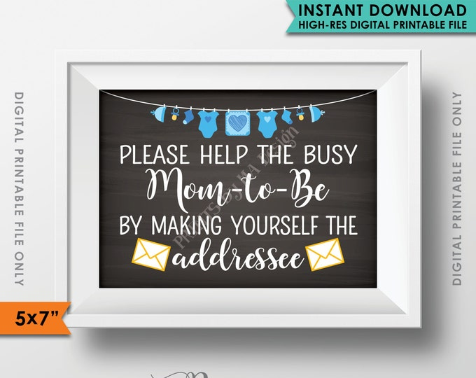 """Baby Shower Address Envelope Sign, Help the Mom-to-Be, Address an envelope, It's a Boy Decorations, 5x7"""" Instant Download Digital Printable"""