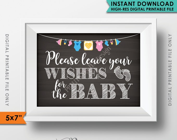 """Wishes for Baby Sign, Please Leave your Wishes for the Baby Shower Sign, Baby Shower Decor, 5x7"""" Chalkboard Style Printable Instant Download"""