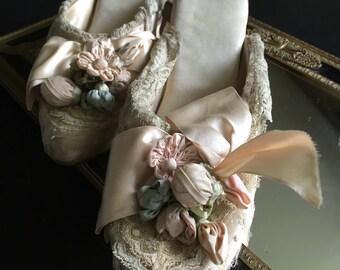 Beautiful Late Edwardian Wedding Silk Lace Slippers with Gorgeous Silk Ribbon Work