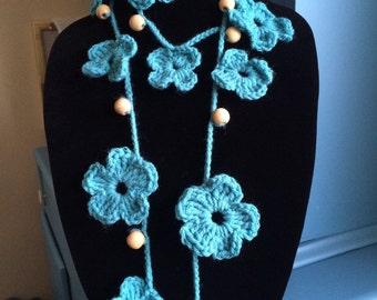 Crochet teal lariat