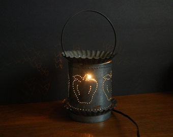 Vintage Punched Tin Lamp / Candle Warmer, Apple Themed