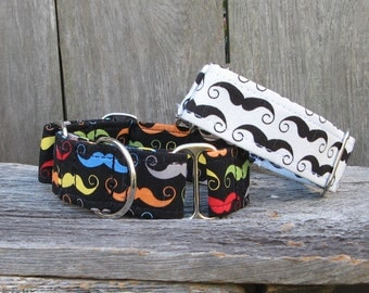 Mustache Martingale Dog Collar,  Mustache Dog Collar, Black and White Mustache Collar, Multi-Colored Mustache Dog Collar