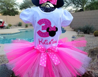 Pesonalized Pink Minnie Mouse tutu outfit, Birthday tutu.