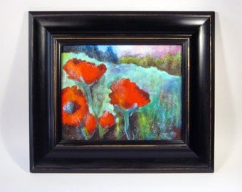 Poppy Art, Red Poppy Painting on Canvas with Frame, Artist-signed Poppy Painting, Red Poppies Landscape, Framed Poppy Landscape Painting
