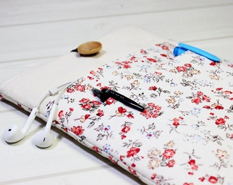 Floral kindle sleeve, iPad mini case, 7 inch tablet case, white tablet sleeve, e-reader sleeve, 8 inch tablet sleeve, unique womens gift